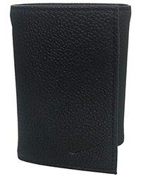 Nike Golf Genuine Leather Pebble Trifold Wallet - Black