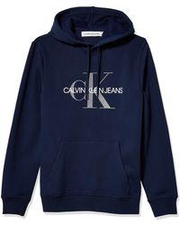 Calvin Klein Fleece Hoodie Logo Pop Over Sweatshirt Hemd - Grau