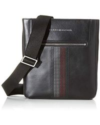 Tommy Hilfiger Business Leather Crossover Purse, Black, 2.5x25.5x23 Centimeters (b X H X T)