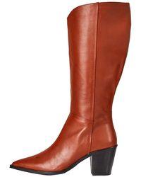 FIND Knee High Pull On Leather Western Botas - Marrón