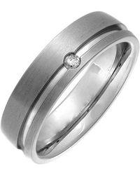 THEIA - Ring Titan Court 0.05 Karat Diamant Matt und Rille 6mm - Lyst