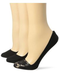 Ellen Tracy - 3 Pack Lace Toe Basic Footliners - Lyst