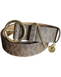 Michael Kors Buckle Logo Brown Wide Gold Tone Charm Belt L - Braun