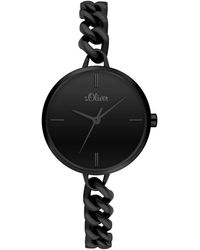 S.oliver Analog Quarz Uhr mit Edelstahl Armband SO-3988-MQ - Schwarz
