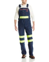 Dickies Enhanced Visibility Bib Overall W Yellow Tape Non-ansi - Blue
