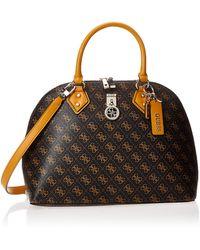 Guess Jensen Brown Logo Dome Satchel Bag