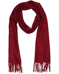 GANT Solid Lambswool Woven Scarf Gloves - Red