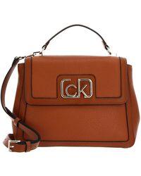 Calvin Klein Flap Top Handle Cognac - Braun