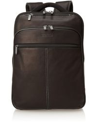 """Kenneth Cole Reaction Back-stage Access Slim Colombian Leather Tsa Checkpoint-friendly 16"""" Laptop & Tablet Travel Business Backpack - Black"""