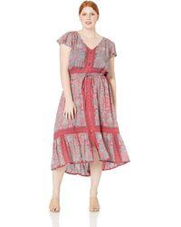 Lucky Brand Plus Size Border Print Felice Dress - Red