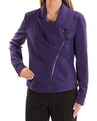 Anne Klein - Asymmetric Zip Jacket, - Lyst