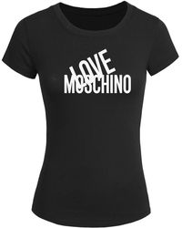 Love Moschino 2016 For Printed Short Sleeve Tops T-shirts Black