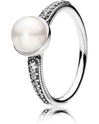 PANDORA Ring mit Süßwasserzuchtperle Zeitlose Schönheit - Mettallic