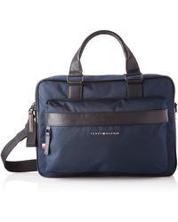 Tommy Hilfiger Strukturierte Laptop-Tasche aus Recycling-Polyester - Blau