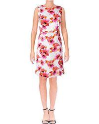 Kasper - Printed Jacquard Dress W/scalloped Hem - Lyst