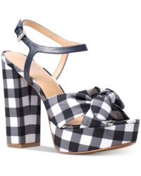 Michael Kors - Michael Pippa Gingham Platform Dress Sandals Admiral Size 11M - Lyst