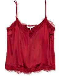 Cupcakes And Cashmere Savannah Heavy Satin Camisole With Eyelash Lace - Red