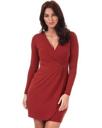 French Connection Womens Womens Long Sleeve Slinky Wrap Dress In Rust - 10 Brown