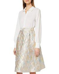 Dorothy Perkins Luxe Grey Metallic Jacquard Midi Skirt