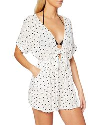 Dorothy Perkins Ivory Spot Print Knot Front Playsuit - White