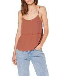 Miss Selfridge Rust Scallop Layer Camisole Top Vest - Brown