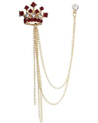 HIKARO Amazon Brand Formal Gold Crown With Maroon Stone And Hanging Chain Detailing Lapel Pin Brooch - Metallic