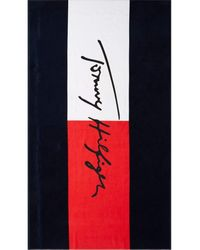 Tommy Hilfiger Drap DE Bain CUN Pitch en Coton Marine UU0UU00033 - Bleu