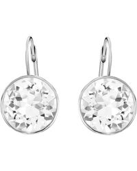 Swarovski Bella Drop Pierced Earrings With Round White Crystals On A Rhodium Plated Setting With A Lever Back Closure - Metallic
