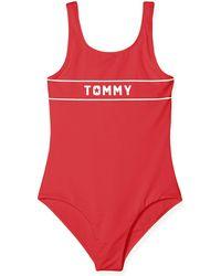 Tommy Hilfiger Mädchen Bügelloser Badeanzug SWIMSUIT - Rot
