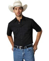 Wrangler Big & Tall Short Sleeve Sport Western Snap Shirt - Nero