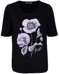 Betty Barclay Kurzarm Shirt Rundhals Statement-Print Strass schwarz Größe 48