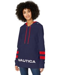 Nautica Classic Supersoft 100% Cotton Pullover Hoodie - Blue