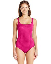 Gottex - Extra Coverage Textured Square Neck One Piece Swimsuit - Lyst