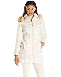 Jones New York Polyfill Mid Length Coat With Sherpa Lined Hood - Natural