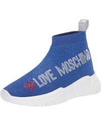 Love Moschino Baskets scintillantes à la cheville. - Bleu