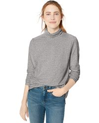 Goodthreads Vintage Cotton Roll-Sleeve V-Neck T-Shirt Fashion - Gris
