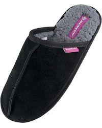 Dunlop Winter Warm Pantoffeln Hausschuhe mit Plüsch Innenfell Gefüttert - Schwarz