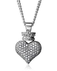 King Baby Studio - Large 3d Pave Cubic Zirconia Crowned Heart Pendant Necklace - Lyst