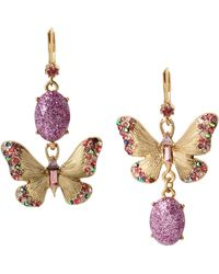 Betsey Johnson Butterfly Mismatch Earrings - Purple