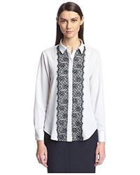 SOCIETY NEW YORK - Lace Trim Shirt - Lyst