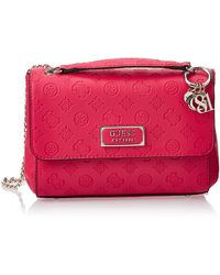Guess Logo Love Convertible Crossbody Flap Umhängetasche - Pink