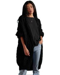 Superdry Grace Oversized Cable Cardigan Pull - Noir