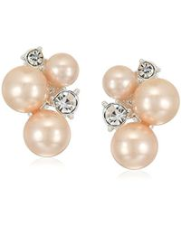 Anne Klein - Silver Tone Cluster Clip-on Earrings - Lyst