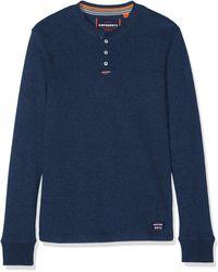 Superdry Heritage L/s Grandad Camiseta - Azul