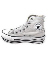 Converse 56912 Sneaker Pelle Chuck Taylor Platform Limited Pelle Grigio - Gris