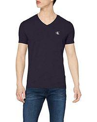 Calvin Klein CK Essential Slim V Neck Tee T-Shirt Uomo - Blu