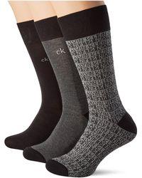 Calvin Klein Dress Logo Crew Socks 3p giftbox Chaussettes - Noir