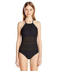 0e9c011498804 Kenneth Cole Reaction - Suns Buns Out Crochet Hi Neck Mio One Piece Swimsuit  - Lyst