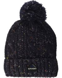 Superdry S Gracie Cable Beanie Hat - Blau