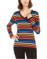 Tommy Hilfiger S Blue Striped Long Sleeve V Neck Top